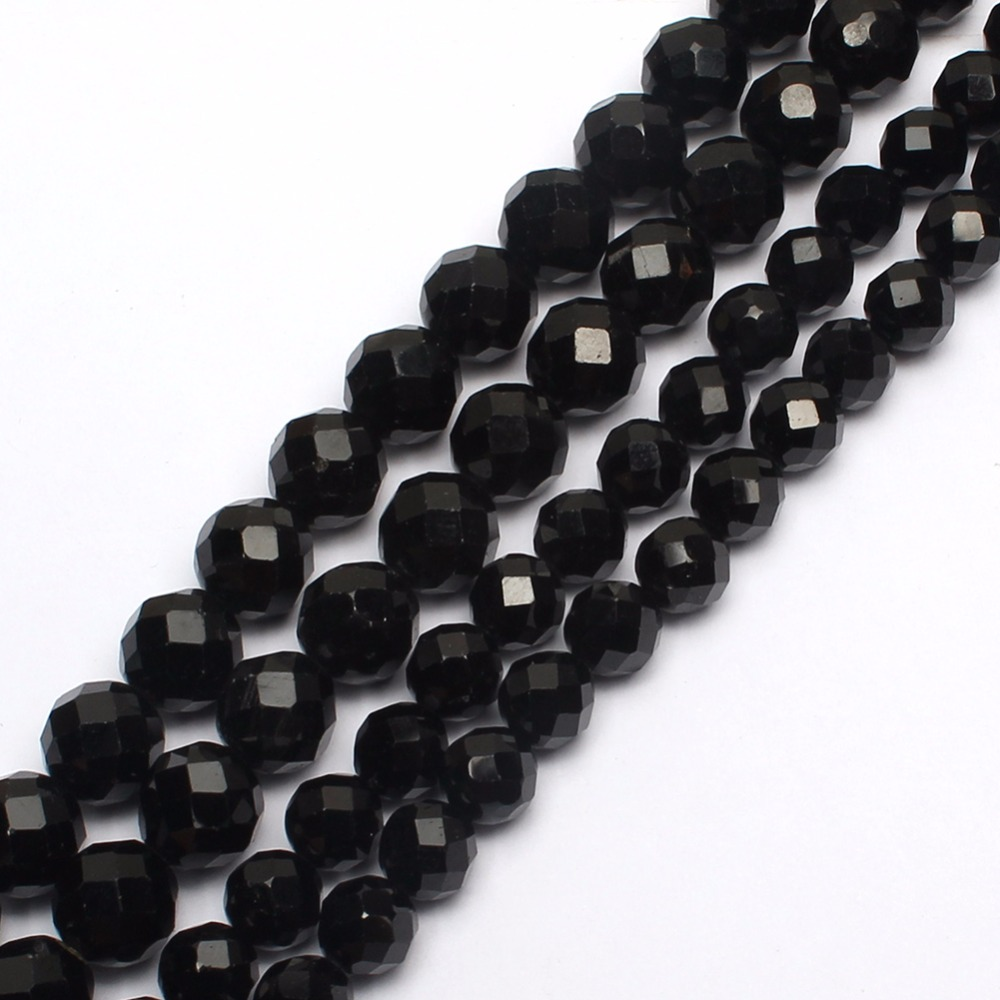 Natural Diamond Surface Black Tourmaline Faceted Loose Beads for Jewelry Making 15inche/strand Diy Bracelet Necklace Natural Diamond Surface Black Tourmaline Faceted Loose Beads for Jewelry Making 15inche/strand Diy Bracelet Necklace