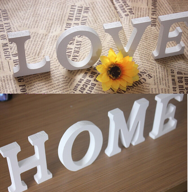 LOVE English letter 3D Wall sticker wooden word letter wall sticker home decoration wedding personalized Name house Doorplate