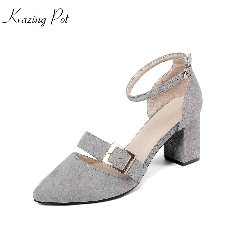 Krazing pot 2018 sheep suede brand high heels ankle strap woman pumps pointed toe metal decorations nightclub spring shoes L14 krazing pot empty after shallow shoes woman lace work flats pointed toe slip on sheep suede causal summer outside slippers l16