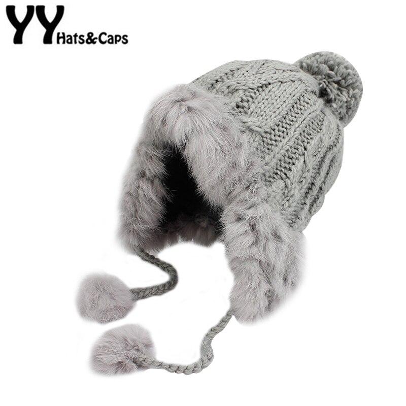 Orejeras invierno bombardero sombrero ruso Ushanka aviador trampero nieve  esquí gorras orejeras invierno de piel de conejo sombrero de bombardero  YY17271 2594e386a74