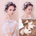 Bride white cloth wild silk flower head flower headdress Korean dish made with short hair wedding hair accessories with jewelry