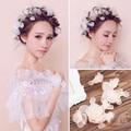 Noiva branco pano de seda selvagem flor cabeça flor cocar prato Coreano feito com cabelo curto acessórios do cabelo do casamento com jóias