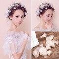 Novia blanco paño de seda salvaje flor cabeza tocado de flores plato Coreano hecho con pelo corto pelo de la boda accesorios con joyas