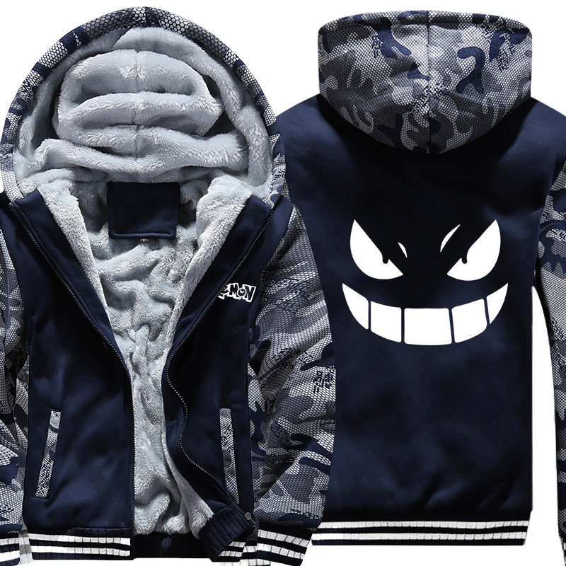 Drop shipping Cute Pocket Monster Printed Winter Mens Hoodies Sweatshir Hoody Coat Men Casual Fleece Thicken Camouflage Jackets
