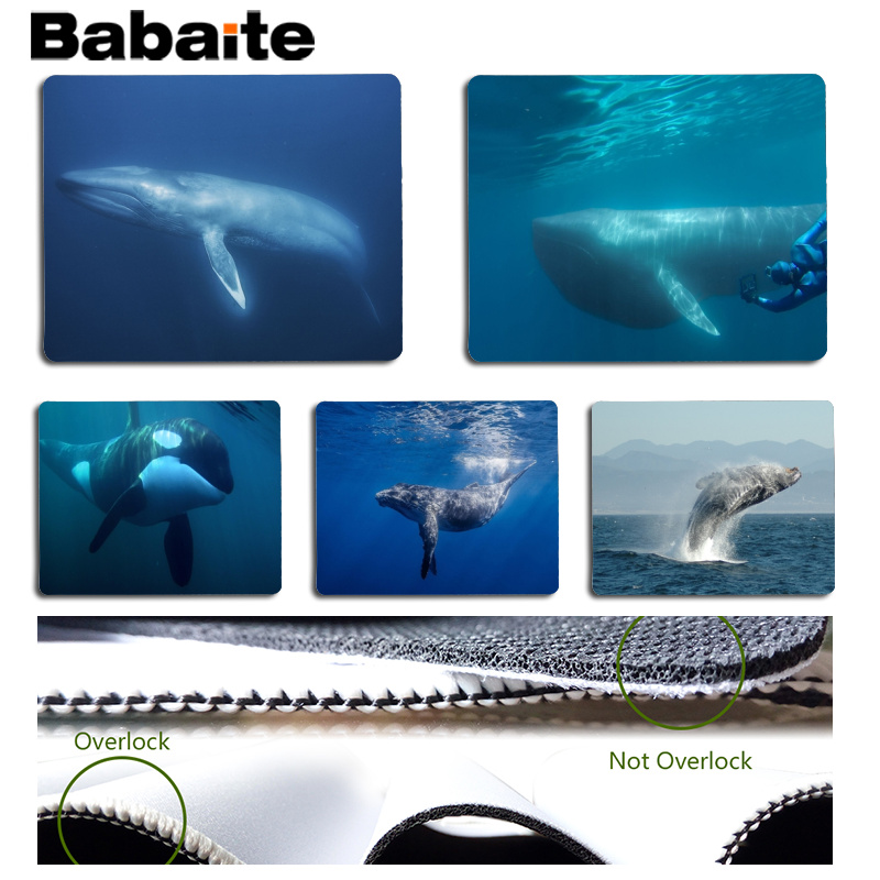 Babaite Whale Large Mouse pad PC Computer mat Size for 25x29cm Gaming Mousepads
