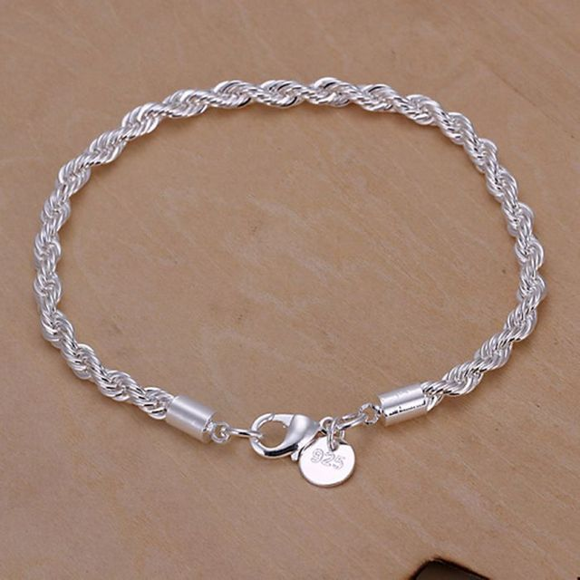 Whole For Women Men S Silver Plated Bracelet 925 Fashion Jewelry Charm Rope Chain