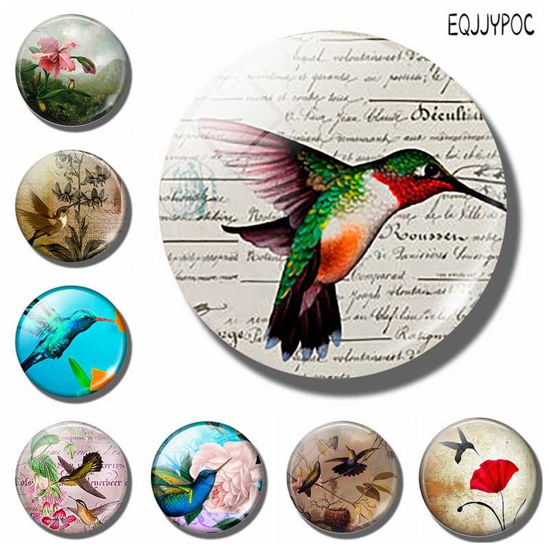 1pc Lovely Humming Bird 30 MM Fridge Magnet Lucky Bird Glass Cabochon Magnetic Refrigerator Stickers Note Holder Home Decoration