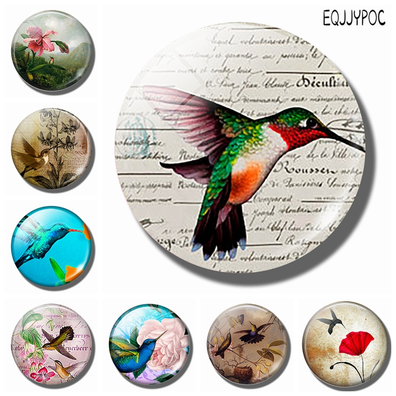1pc Lovely Humming Bird 30 MM Fridge Magnet Lucky Glass Cabochon Magnetic Refrigerator Stickers Note Holder Home Decoration