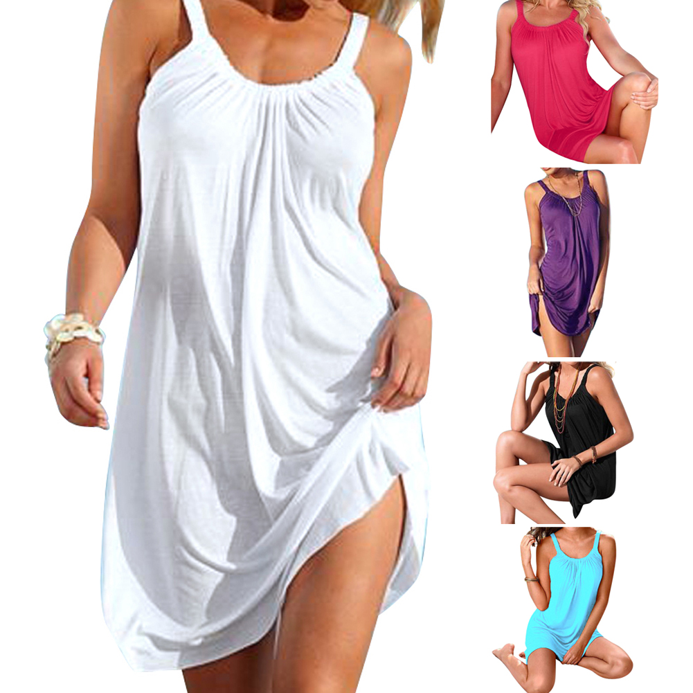 Women Sexy Summer Beachwear Sleeveless Evening Party Beach Dress Short Mini Dress Swim Cover up Beachwear Swimwear Dress 2