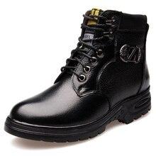 Новый Кожаный Зашнуровать Combat Военная Шерсти Зимы Теплый Снег Ботильоны Мужская Мода Рабочая Обувь