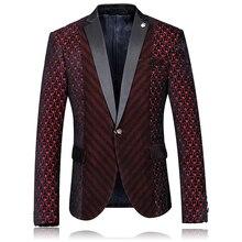 British style striped stitching printing fashion boutique men blazer 2016 Autumn&Winter woolen cloth quality blazer men M-4XL