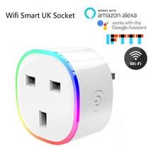 RGB смарт зарядное устройство для Великобритании умная розетка беспроводной wifi Пульт дистанционного управления Умный дом Голосовое управление умная розетка с Alexa Google Home