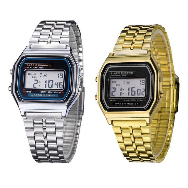 Multifunction Led Stainless Steel Gold Watch Alarm Clock Whole Time Running Boy