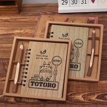 Creative Cute Cartoon Totoro Planner Hardcover Notebook Wooden Korean Stationery Diary Notepad School Supplies