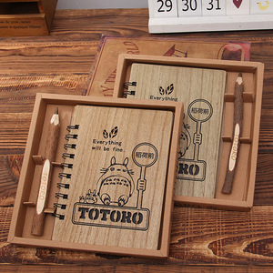 Image 1 - Creative Cute Cartoon Totoro Planner Hardcover Notebook Wooden Korean Stationery Diary Notepad School Supplies