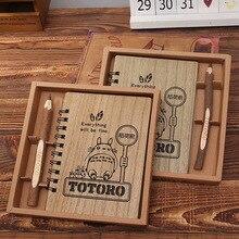 Kreatywny uroczy bajka Totoro planowanie notes w twardej oprawie drewniane koreański kalendarz biurowy notatnik szkolne