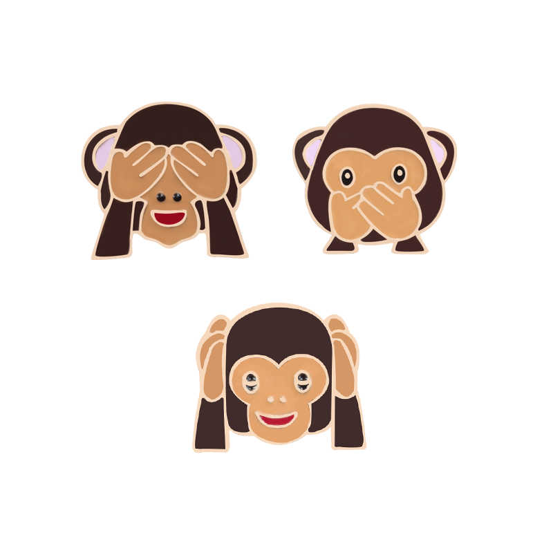 3pce/set Enamel Pin Interesting Three Monkeys Play Games Brooch For Women Jackets Cartoon Brooches Children's Badge Jewelry Gift