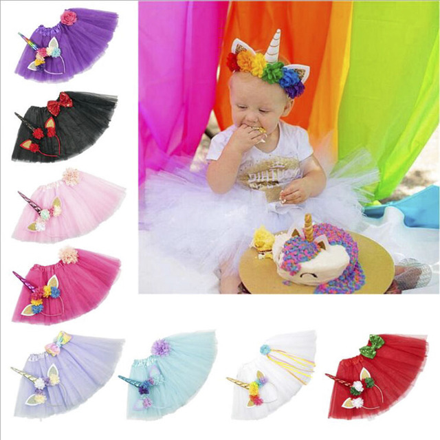 83c48a41b17e2 US $9.9 |Newborn Baby Bustle Unicorn Tutu Skirt 8 Colors Knee Length  Toddler First Birthday Party Tutu Skirts With Headband For Easter-in Skirts  from ...