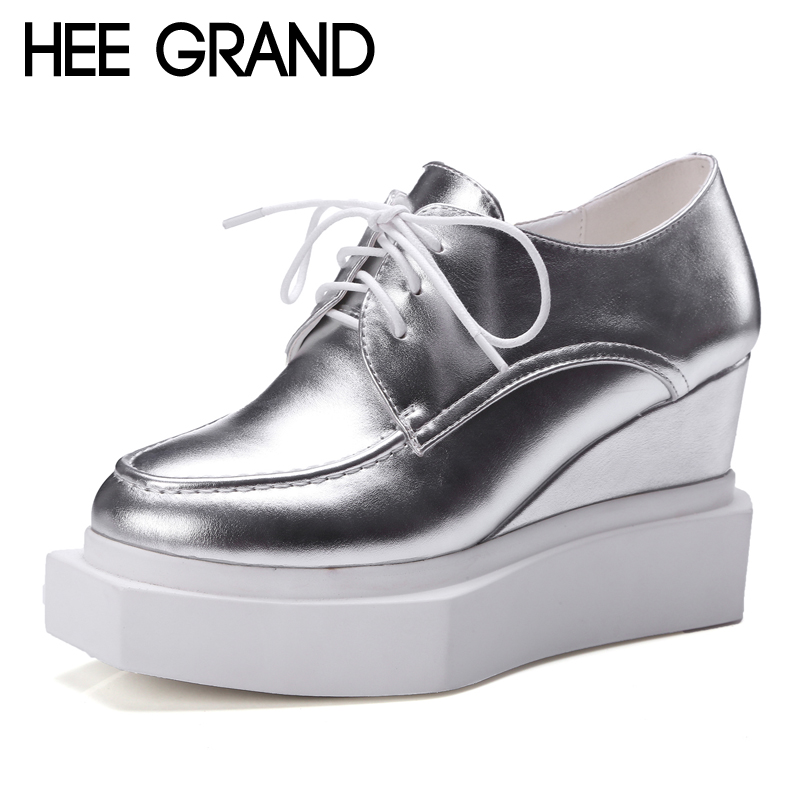 ФОТО HEE GRAND Silver Oxfords Shoes Woman Casual Platform Wedges Autumn Creepers Sexy High Heels Women Shoes Size 35-39 XWD4042