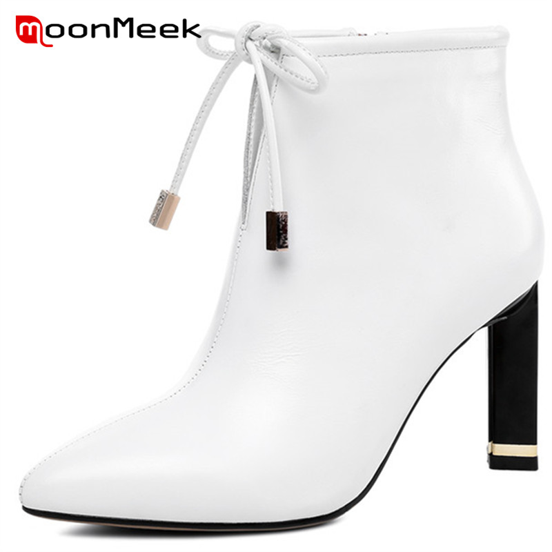 MoonMeek hot sale high heels ankle boots ladies popular genuine leather boots new arrive autumn winter women bootsMoonMeek hot sale high heels ankle boots ladies popular genuine leather boots new arrive autumn winter women boots