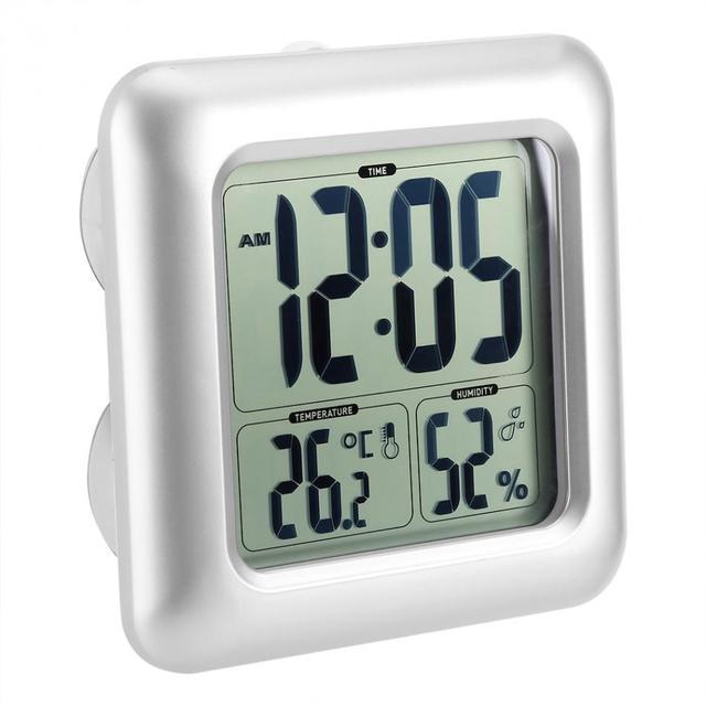 Baldr Hygrometre Thermometre Grand Mur Numerique Horloge Minuterie Ventouses Salle De Bains Cuisine Etanche Douche