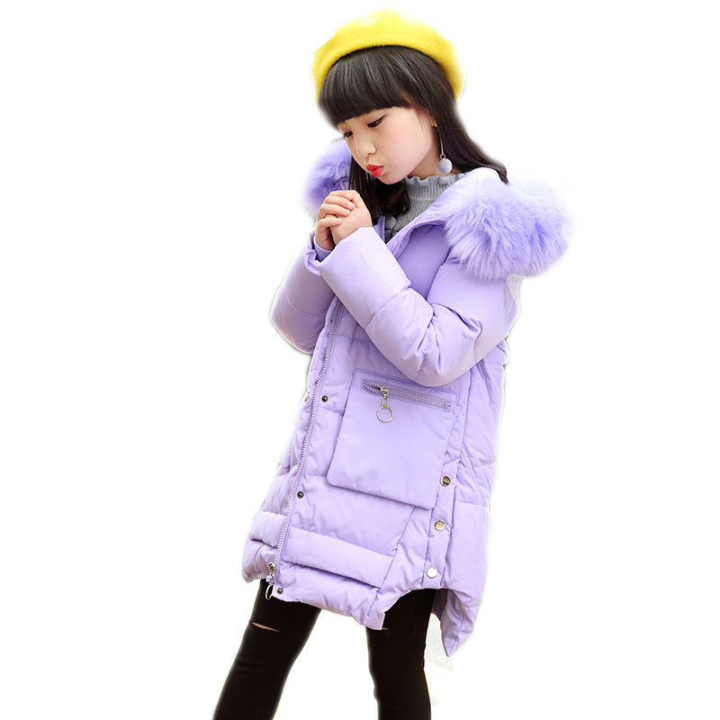 Winter Girl Jacket Children Parka Winter Coat Duck Long Thick Big Fur Hooded Kids Winter Jacket Girls Outerwear For Cold -30 C new army green long raccoon fur collar coat women winter real fox fur liner hooded jacket women bomber parka female ladies fp890