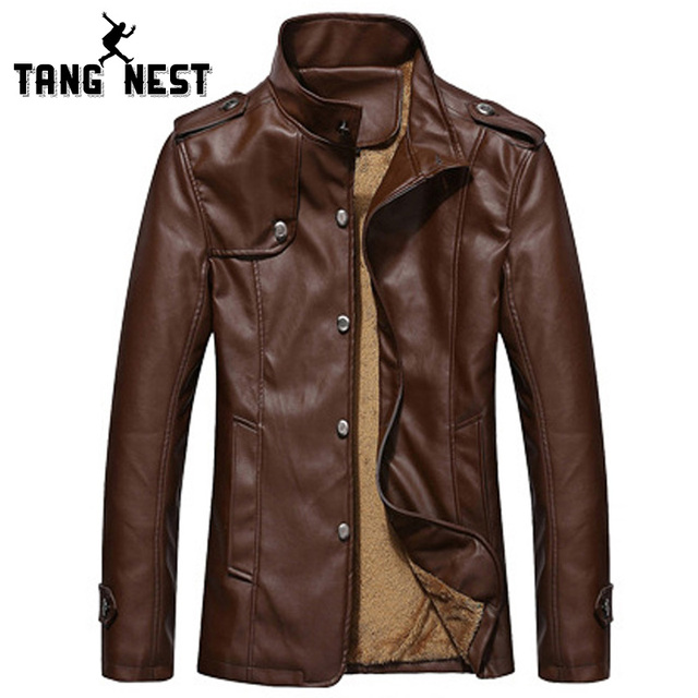 TANGNEST 2017 New Winter Men Leather Jacket 7 Solid Colors Plus Velvet Warm Fashion Casual PU Leather Jacket Men MWP340