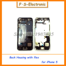 New Replacement parts for iphone 5 5s full housing case metal alloy back cover+flex cable+buttons assembly  Free shipping