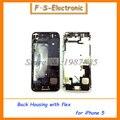 Novas peças de reposição para o caso iphone 5 5s habitação completo liga de metal tampa traseira + cabo flex + botões de montagem frete grátis