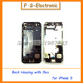 Nuevas piezas de repuesto para iphone 5 5s caso lleno de la cubierta de metal de aleación contraportada + asamblea flex cable + botones envío gratis