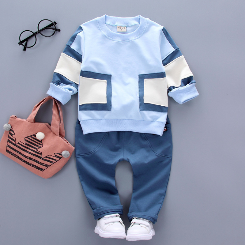 Fashion 2PCS Toddler Baby Boy Girl clothing Splicing T-shirt Pants Cartoon Hot Sale Casual clothes Sets suit
