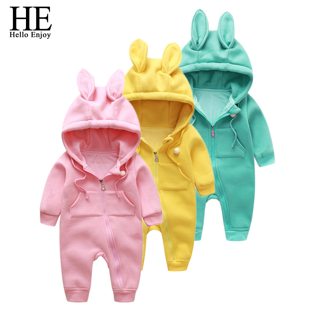 HE Hello Enjoy infant romper baby girl boys clothes winter newborn clothing baby romper warm Hooded kids Jumpsuit Baby Costume baby clothing summer infant newborn baby romper short sleeve girl boys jumpsuit new born baby clothes