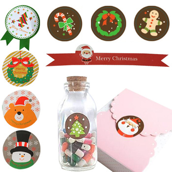 5 Sheets Decorative Santa Claus Gift Sticker Christmas Self-Adhesive Sealing Stickers Christmas Tags DIY Wrapping Package Label image