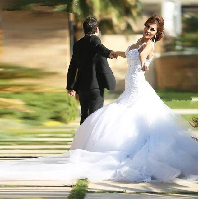 simple trumpet/mermaid wedding dress vestido de novia corte sirena