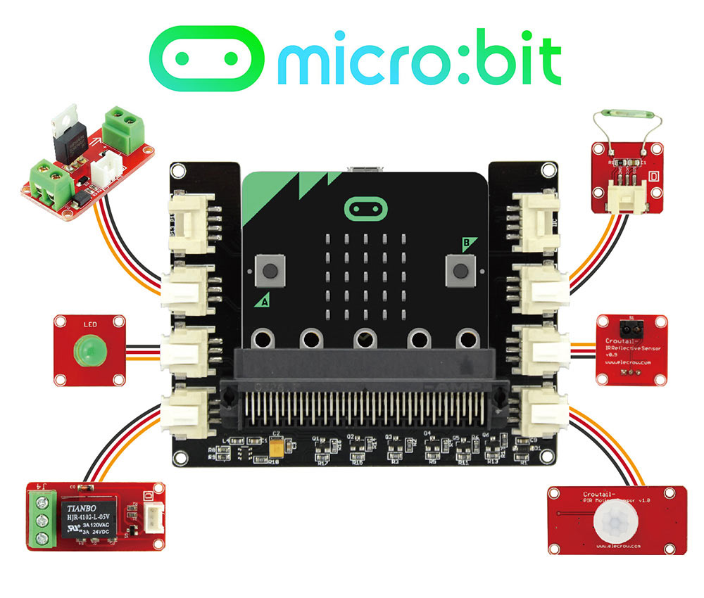 Elecrow BBC micro:bit STEM Starter Kit Learn Programming for Kids Beginners 20 Lessons Computer Electronic Gifts DIY Kit
