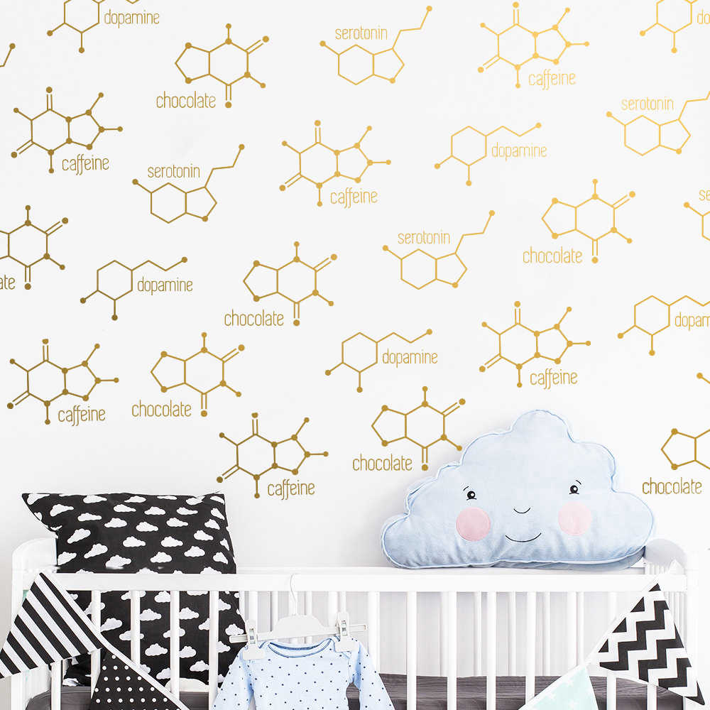 16/32pcs Chemical Structure Wall Decals Museum Waterproof sticker school decoration wall Stickers Child Bedroom wallpaper JW327