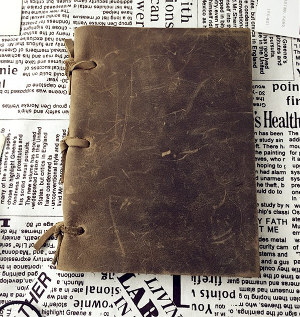 Handmade first layer of cowhide vintage 3 loose-leaf notebook genuine leather diary oil  for palm utilization of palm oil mill wastes