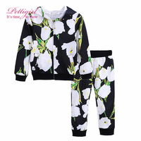 Pettigirl Newest Girls Clothing Set Casual Daily Outfit Flower Printing Coat And Top Fashion Baby Girls Clothing G-DMCS908-839