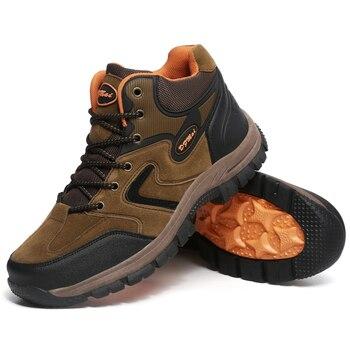 Botas Ligeras De Senderismo Impermeables | 2019 Nuevos Hombres Cómodos Invierno Hombres Botas De Cuero Ligero Senderismo Tobillo Botas De Nieve De Cuero Casual Hombres Zapatos Impermeables