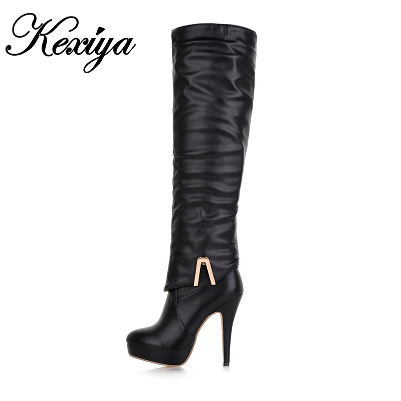 ФОТО Two styles Winter botas and ankle boots sexy round toe platform high heels plus size 32-43 ladies Over-the-Knee boots QQ-3-6