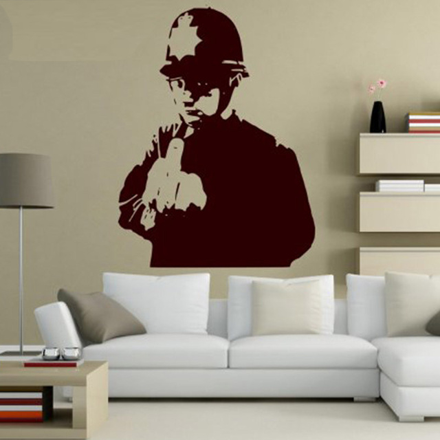 Custom made banksy graffiti kasar tembaga art wall sticker dinding decal banyak warna baru vinyl