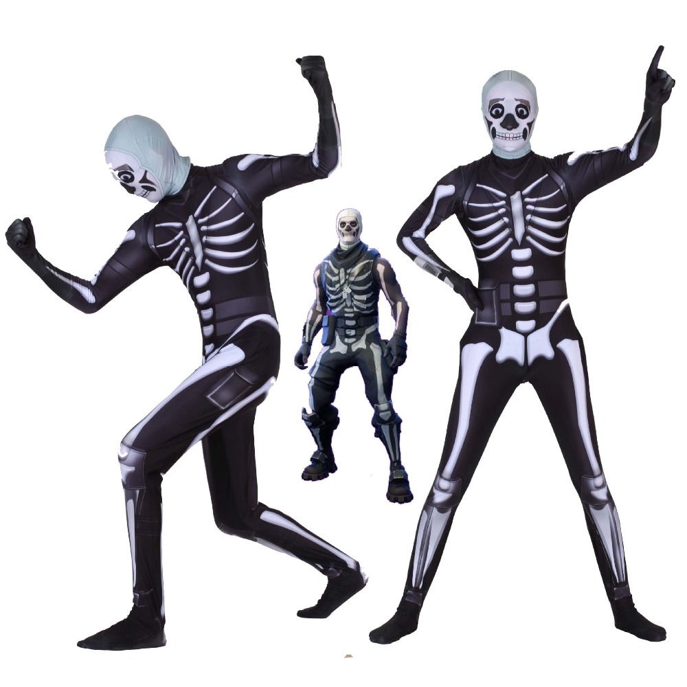 Free shipping adult Halloween Night Black Skull cavalry skull Trooper Cosplay body tights suit JQ-1157