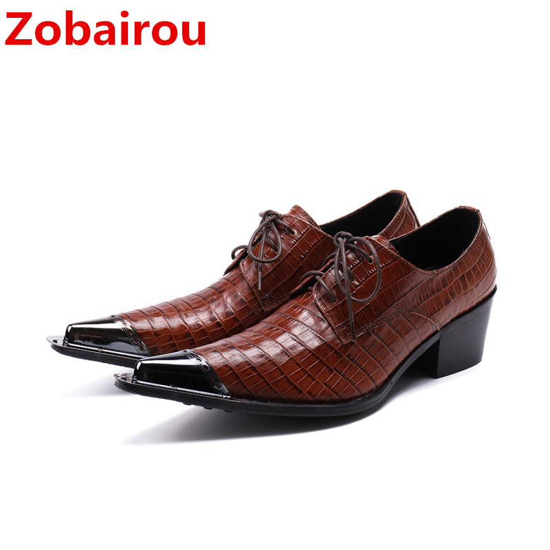 Zobairou Sapato masculino social iron poiny oxford shoes for men european style formal dress wedding men shoes business rivets