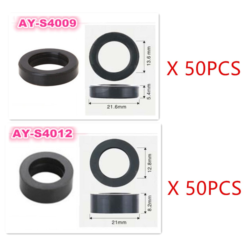 100pieces lower rubber seals insulator for honda OBD1 Civic D16z6 JC585 92 95 fuel injector repair kit (AY S4009,AY S4012)