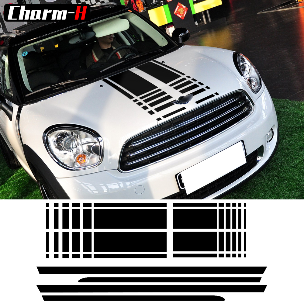Bonnet stripes hood decal trunk rear side skirt racing stripes decal stickers for mini cooper countryman r60 2013 2016 3 colors