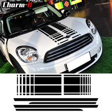 Black /Red Bonnet Stripe Hood Trunk Rear Side Skirt Racing Stripes Decal Stickers For Mini Countryman R60 Cooper S 2013-16 car styling side racing stripes hood rear engine cover trunk vinyl decal sticker for bmw mini cooper countryman r60 2013 2016