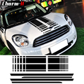 Cofano Stripes Hood Decal Tronco Posteriore Lato Gonna Racing Stripes Autoadesivi Della Decalcomania Per Mini Cooper Countryman R60 2013-2016 3 colori
