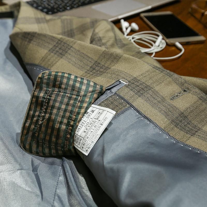Xm geeki masculino casual terno jaquetas primavera e verão ternos blazers ajuste fino 3 peças ternos masculino khaki escuro xadrez terno 365wt36 - 5