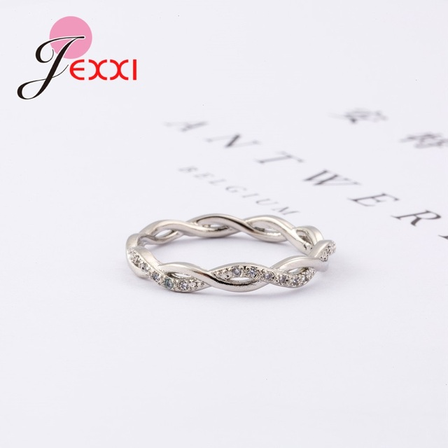 New Arrival Elegant Pure 925 Sterling Silver Special Beautiful Winding Shinning Rhinestone Fine Rings Good Girls/Women 1