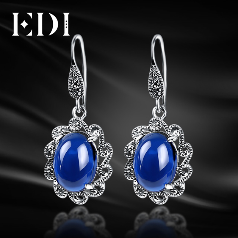 EDI Women Trendy Agate 925 Sterling Silver Flower Drop Earrings Vintage Bohemia Dangle E ...